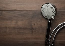 36538491 - new shower head on the wooden table